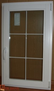 """Деревянное окно ОСВ. Цвет Белый. Ф/п 8мм Белый на 6 квадратов. """"СТАНДАРТ""""."""
