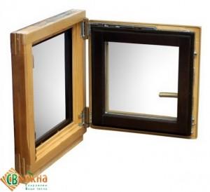 ОСВ окно, материал сосна. 2-х цветное. Орех/Клен.