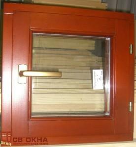 Деревянное окно ОСВ, Цвет каштан.