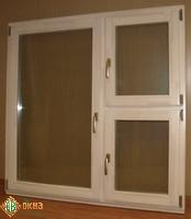 ЕВРО окно с форточкой, сосна. Цвет Ясень.