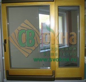 Портальная дверь ЕВРО сосна цвет по RAL. Вид из помещения