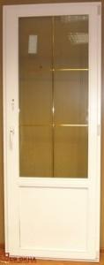 Дверь балконная ОСВ, низ глухой. Цвет Белый. 2100х800мм, с фальшпереплетом золото.